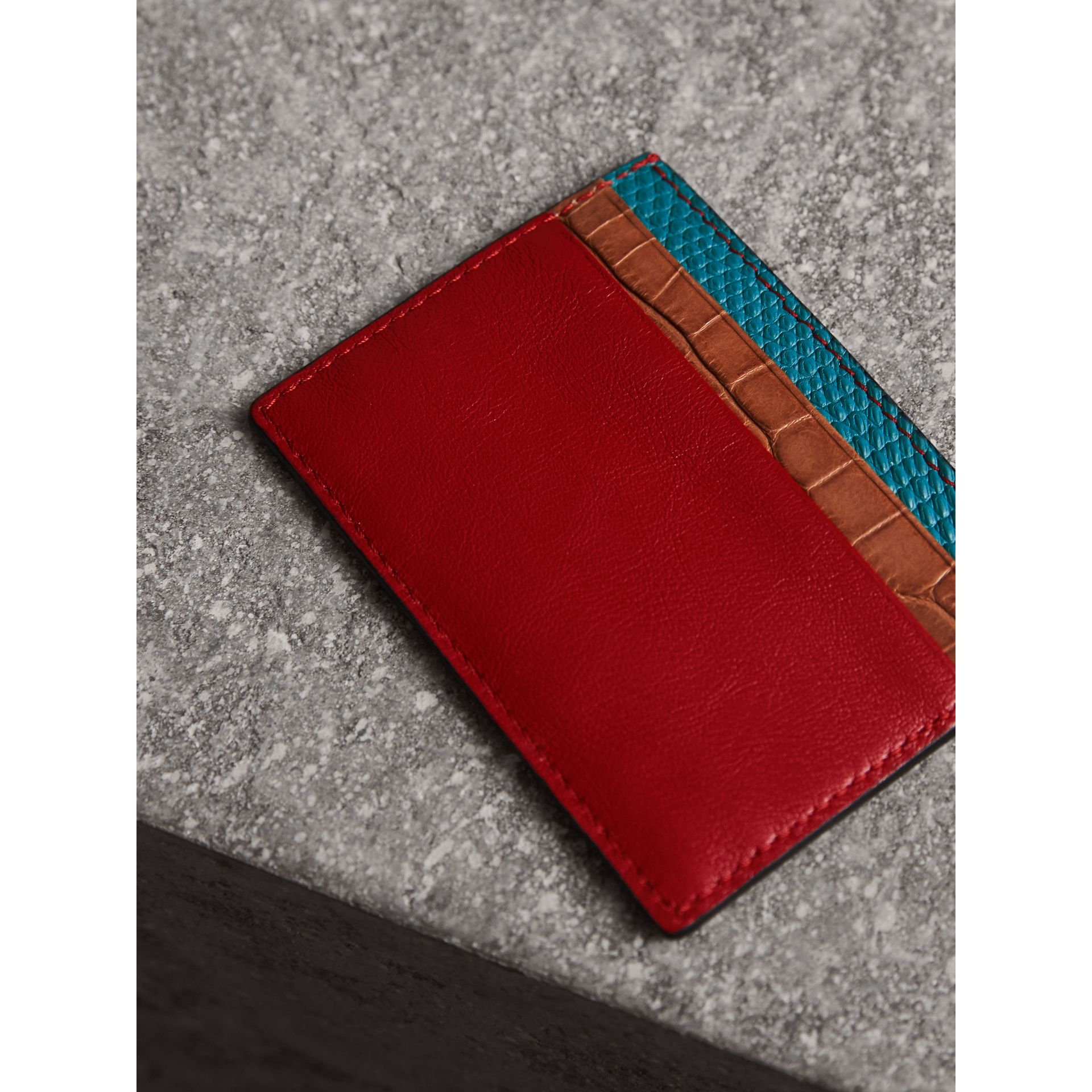 Leather, Lizard and Alligator Card Case in Deep Red - Men | Burberry - gallery image 2