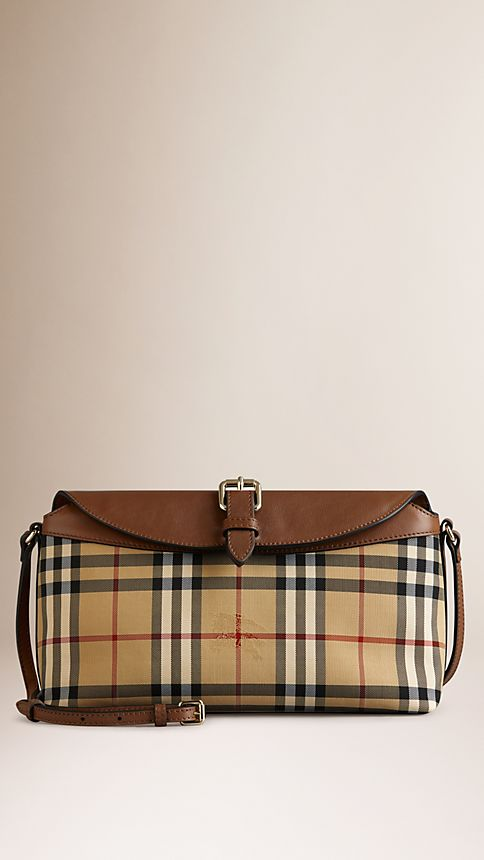 Honey/tan Small Horseferry Check Clutch Bag - Image 1