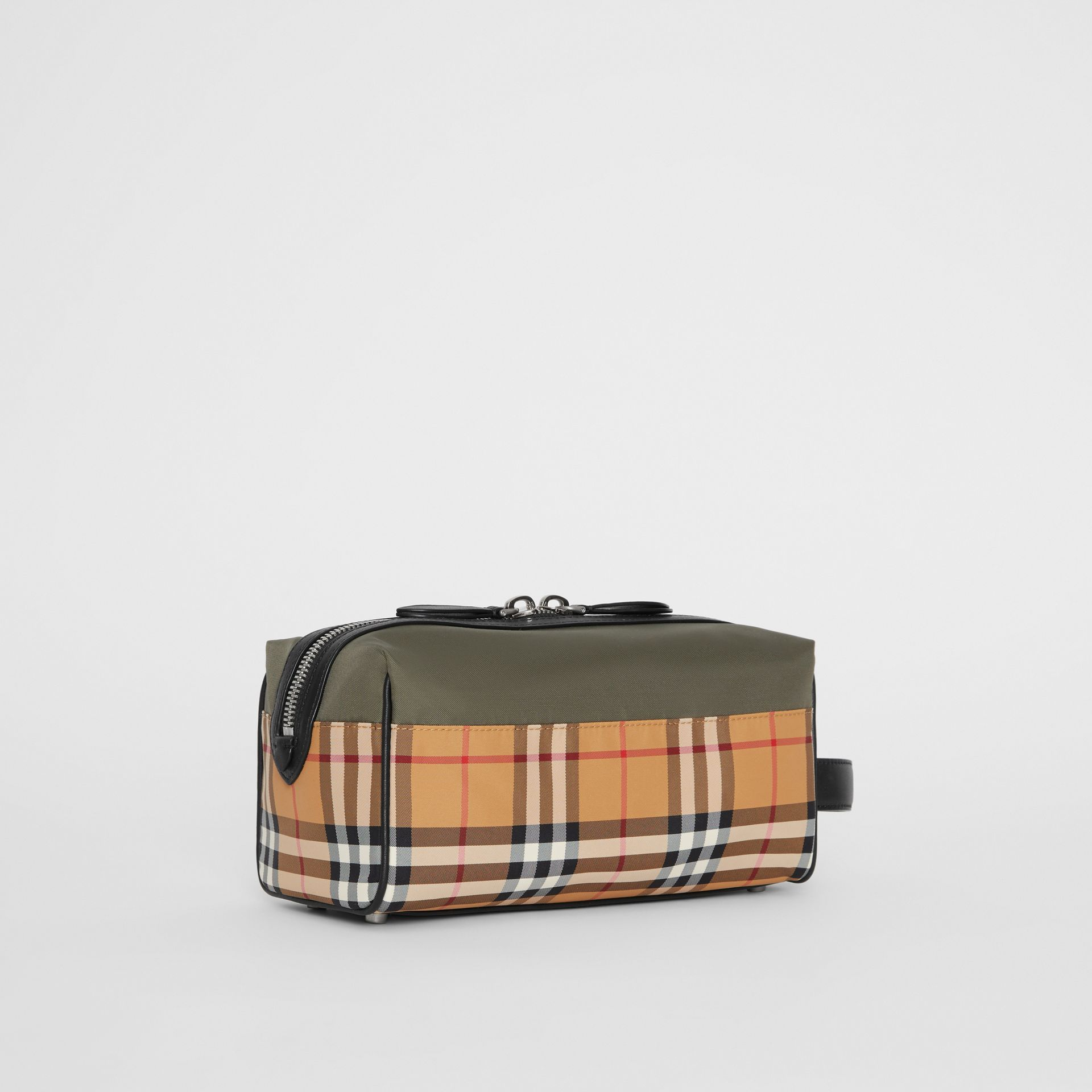 Vintage Check and Colour Block Pouch in Military Green/vintage | Burberry - gallery image 6