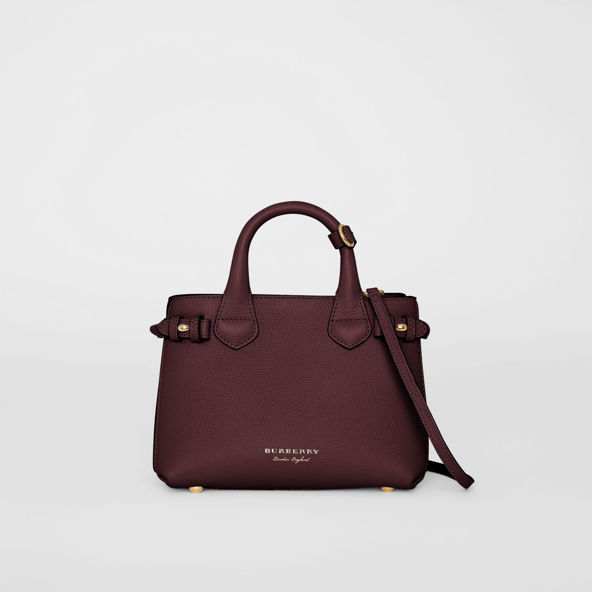 The Small Banner in Leather and House Check in Mahogany Red - Women | Burberry - gallery image 0