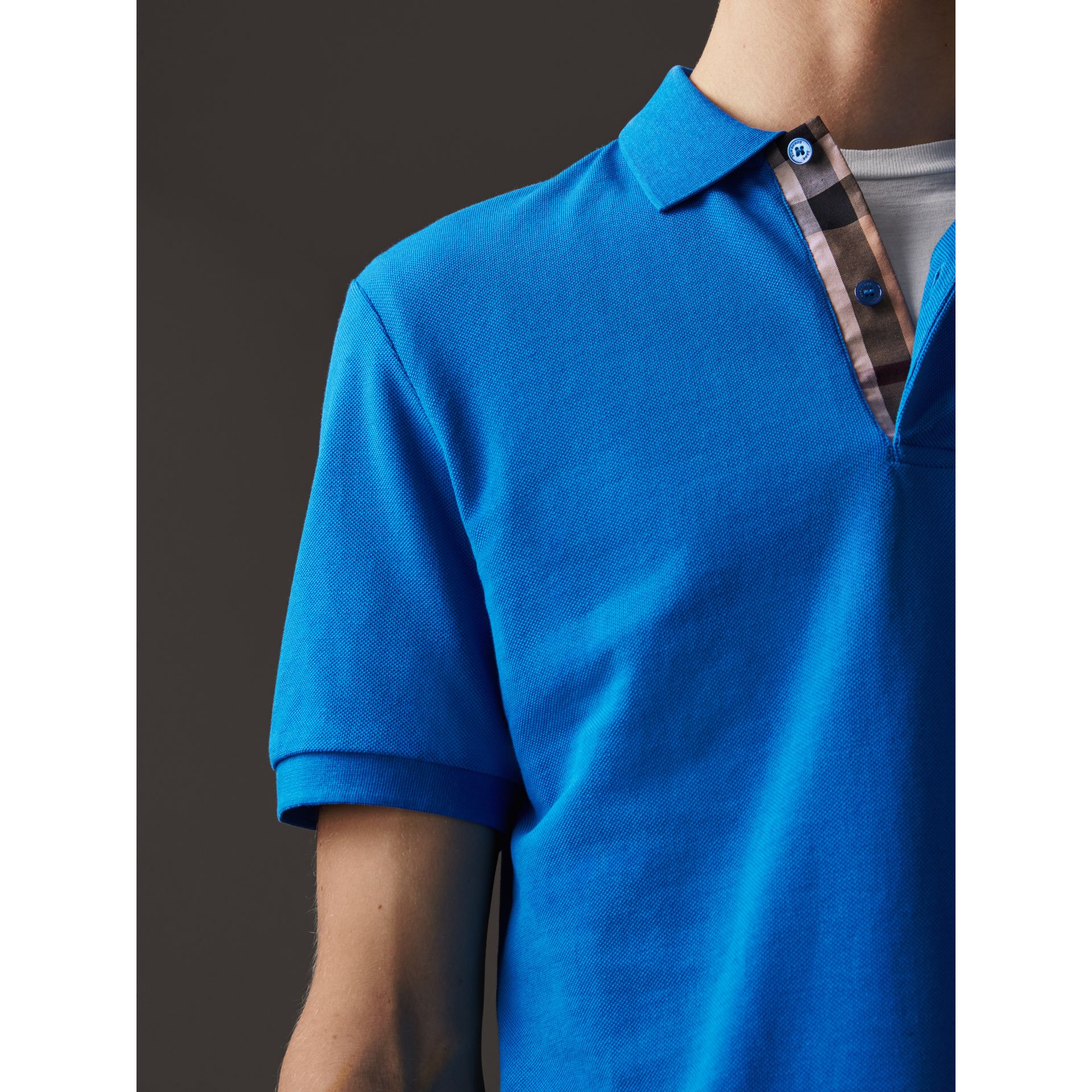 Check Placket Cotton Piqué Polo Shirt in Bright Opal - Men | Burberry Canada - gallery image 2