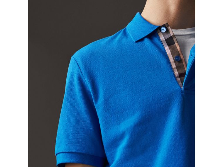 Check Placket Cotton Piqué Polo Shirt in Bright Opal - Men | Burberry - cell image 1