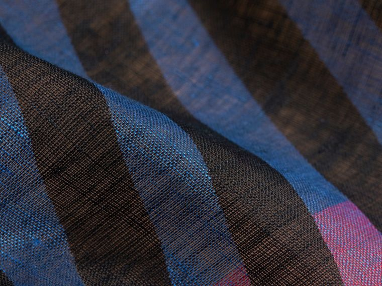 Lightweight Stripe Print Check Linen Scarf in Black/navy - Men | Burberry - cell image 1