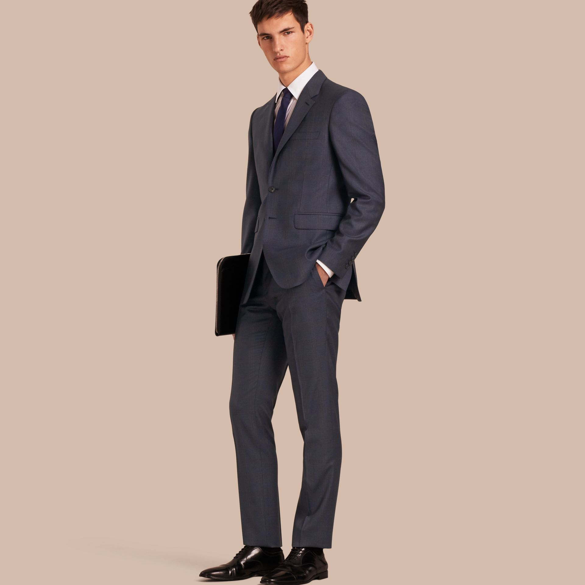 Navy Modern Fit Wool Half-canvas Suit - gallery image 1