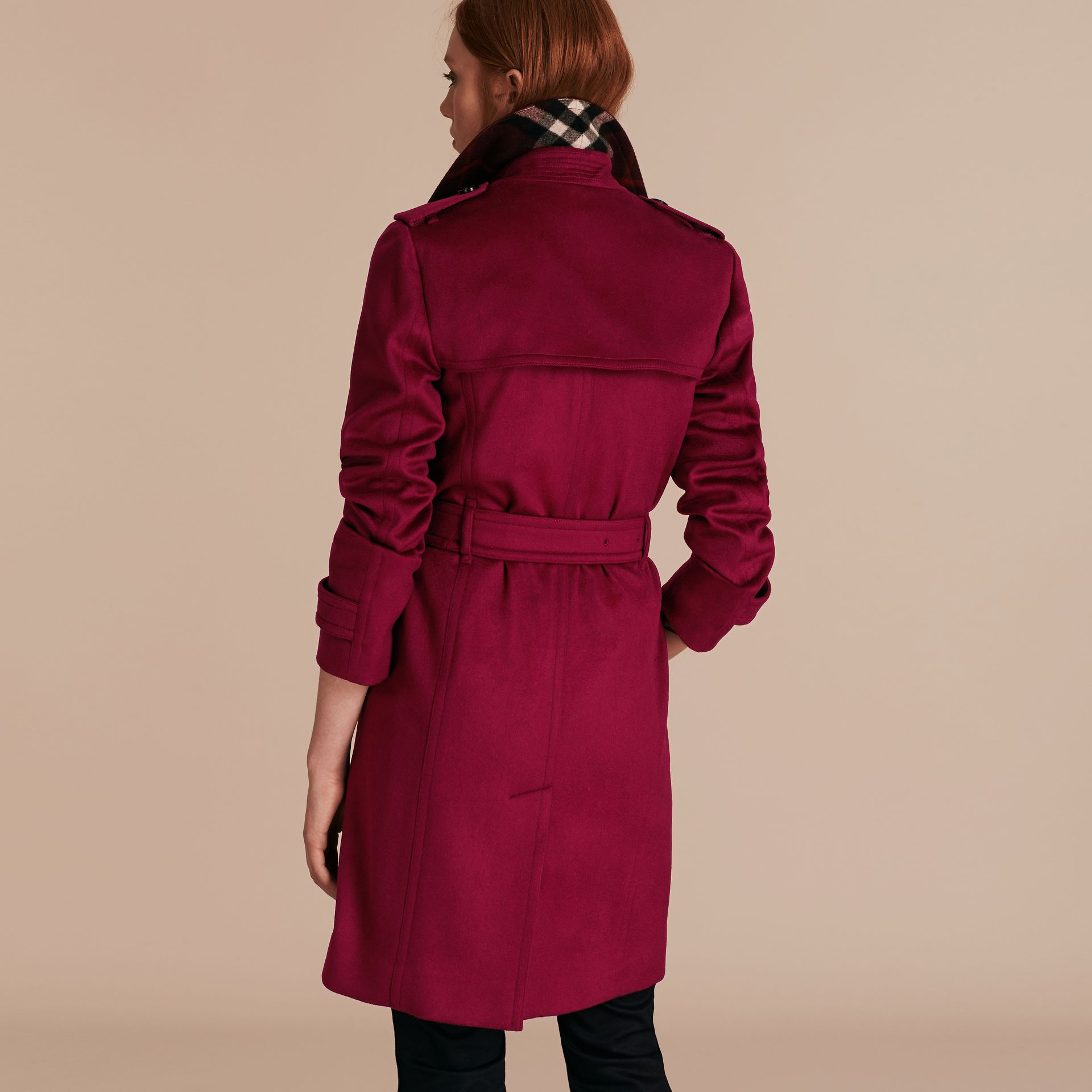Cherry pink Cashmere Wrap Trench Coat Cherry Pink - gallery image 3