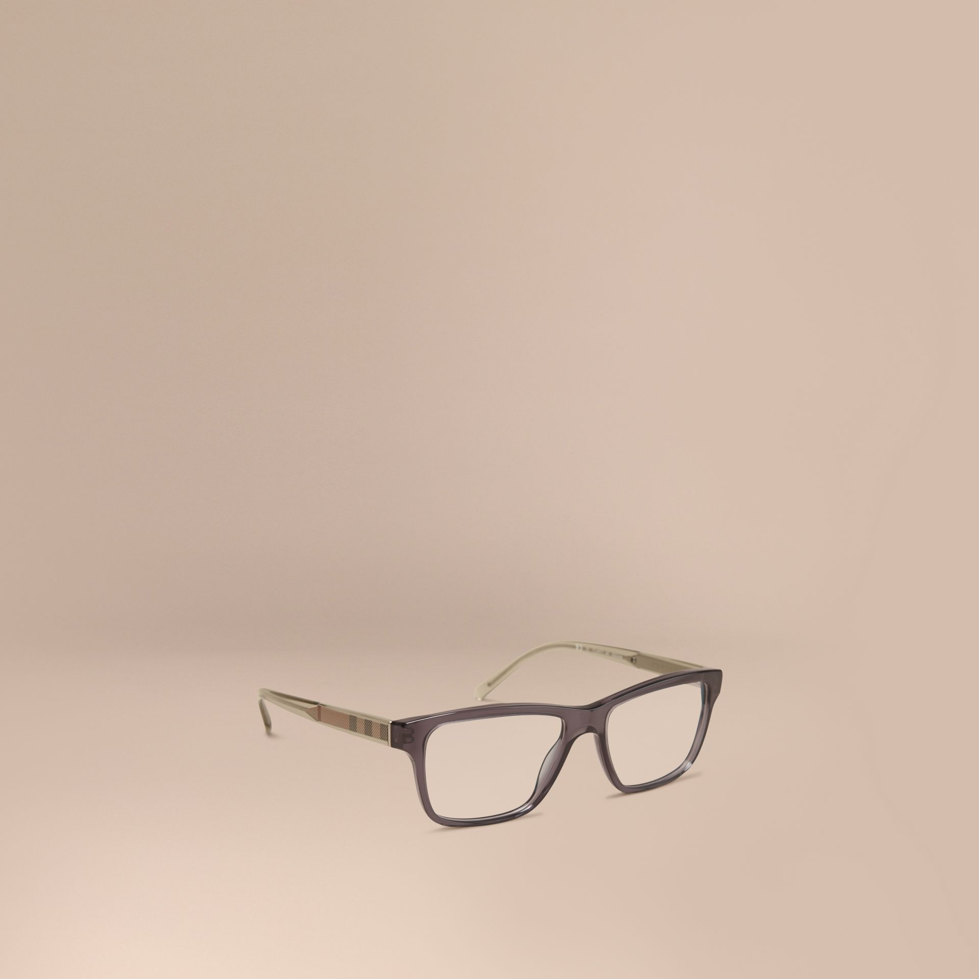 Check Detail Rectangular Optical Frames Dark Grey - gallery image 1