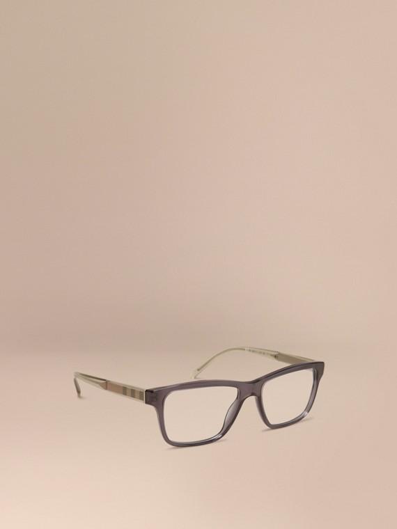 格紋細節設計長方形光學鏡框 暗灰色