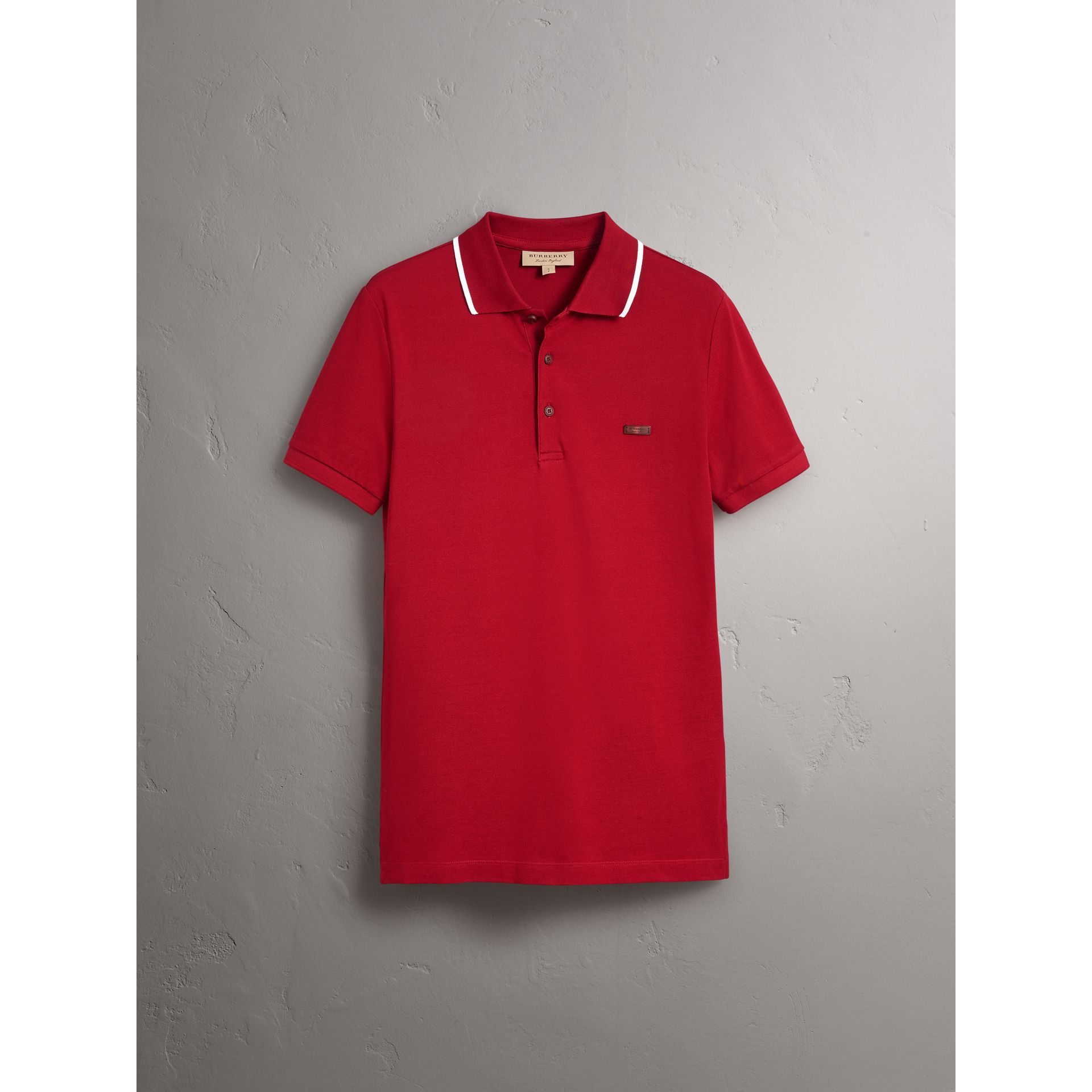 Tipped Collar Cotton Piqué Polo Shirt in Military Red - Men | Burberry - gallery image 4