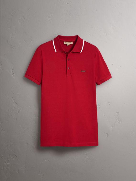 Tipped Collar Cotton Piqué Polo Shirt in Military Red - Men | Burberry - cell image 3