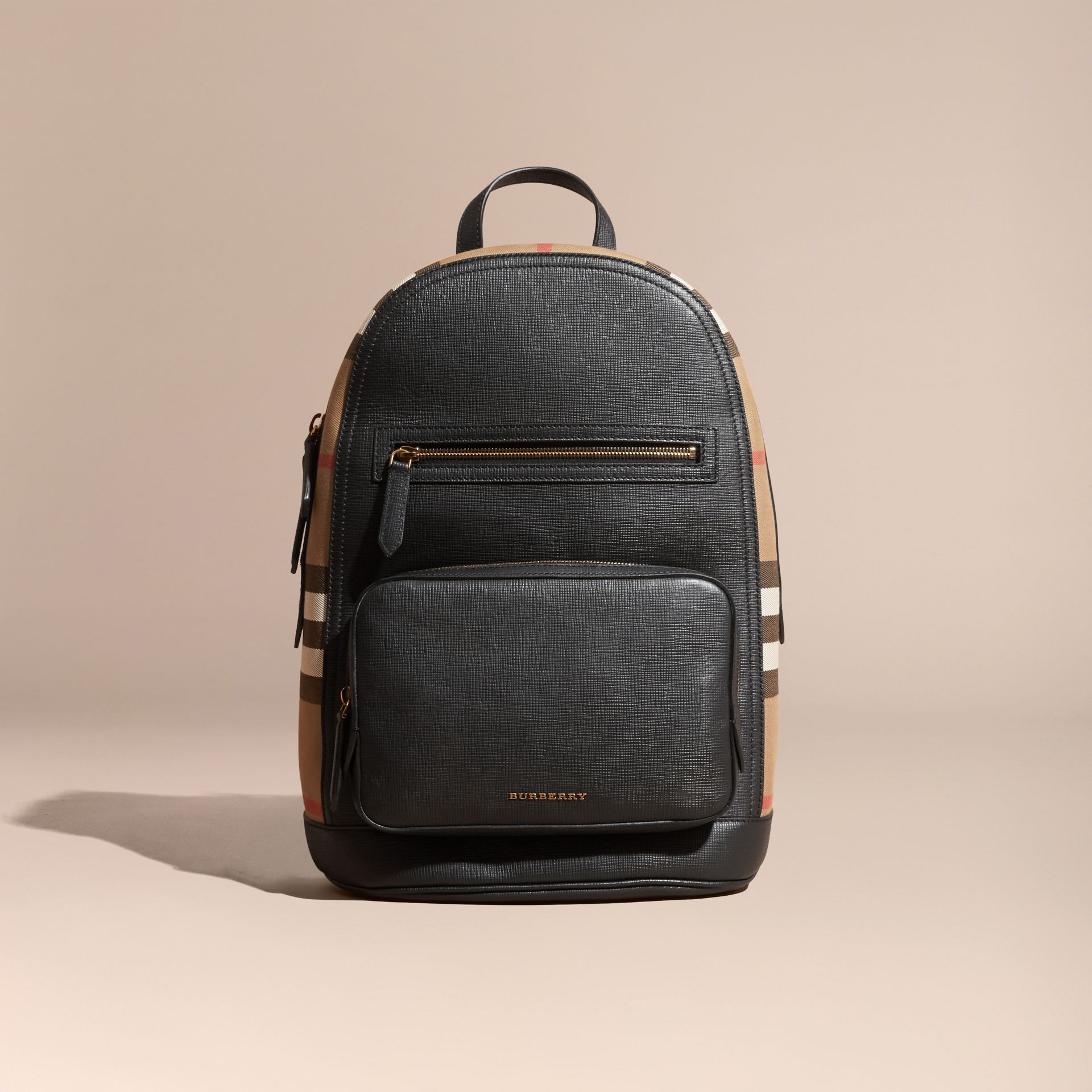 Black Textured Leather and House Check Backpack - gallery image 8