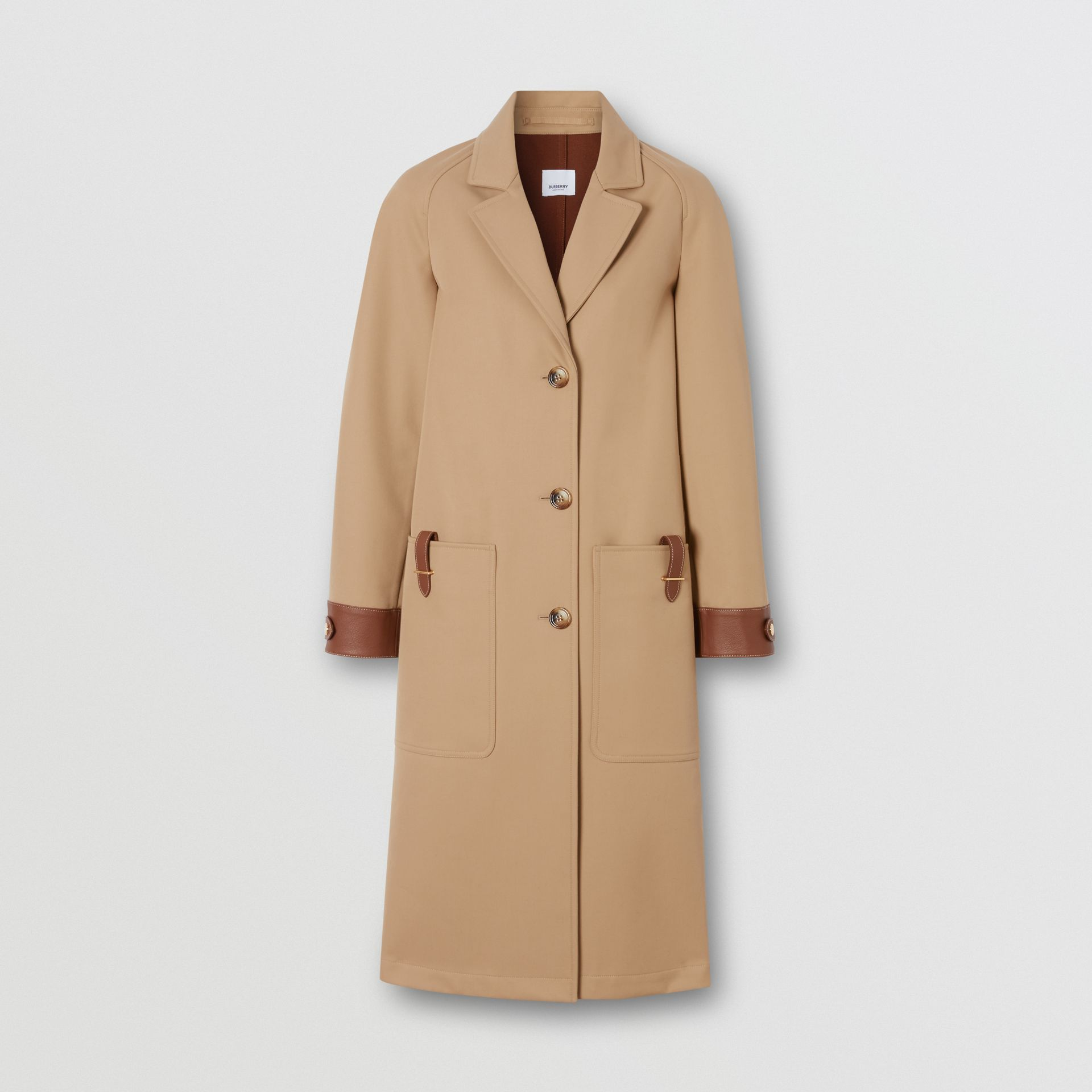 Leather Trim Bonded Cotton Lab Coat in Biscuit - Women | Burberry - gallery image 3