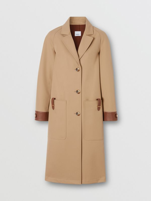 Leather Trim Bonded Cotton Lab Coat in Biscuit - Women | Burberry - cell image 3