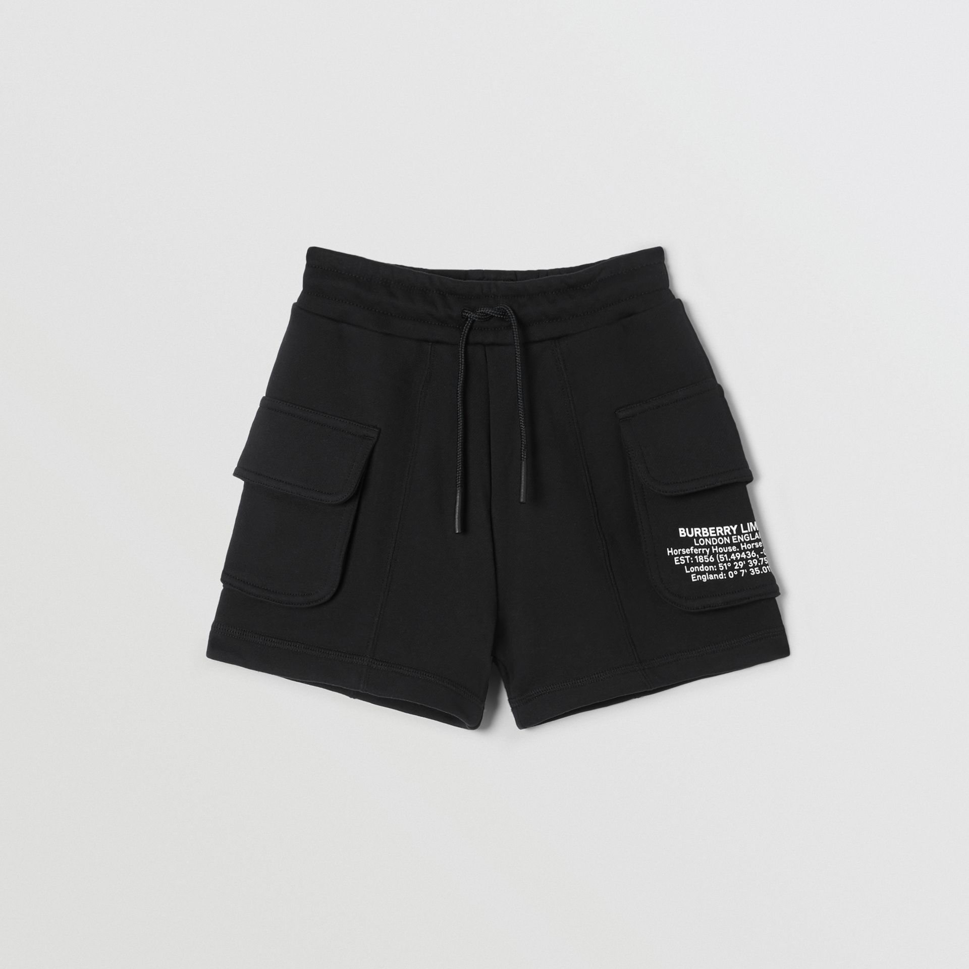 Location Print Cotton Drawcord Shorts in Black | Burberry - gallery image 0