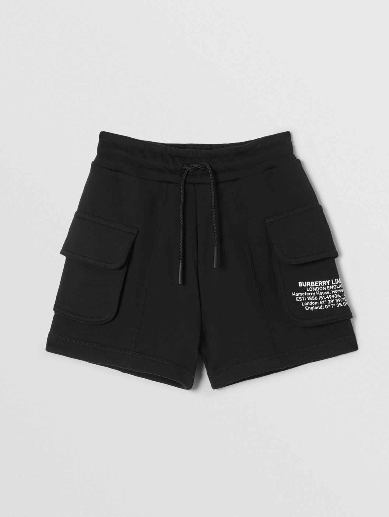 Location Print Cotton Drawcord Shorts (Black)