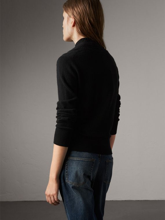 Cable Knit Detail Cashmere Cardigan in Black - Women | Burberry - cell image 2