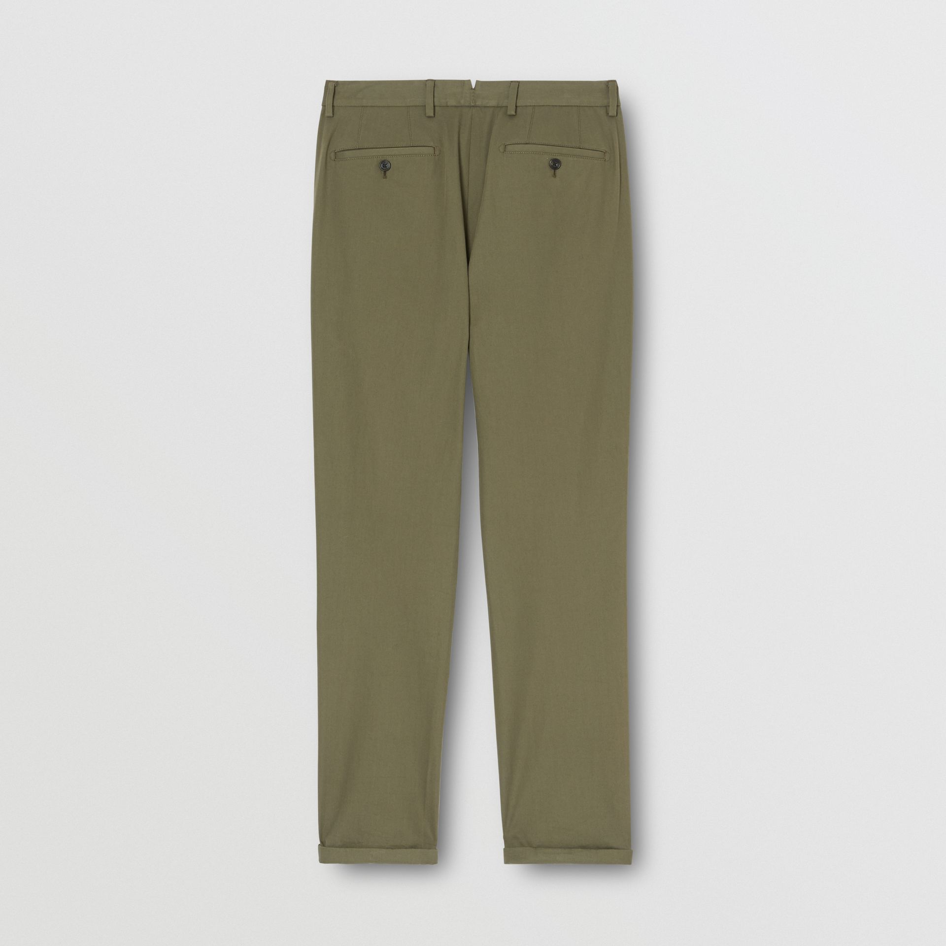 Slim Fit Cotton Chinos in Olive - Men | Burberry - gallery image 5