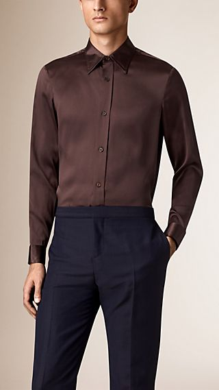Slim Fit Long Point Collar Silk Shirt