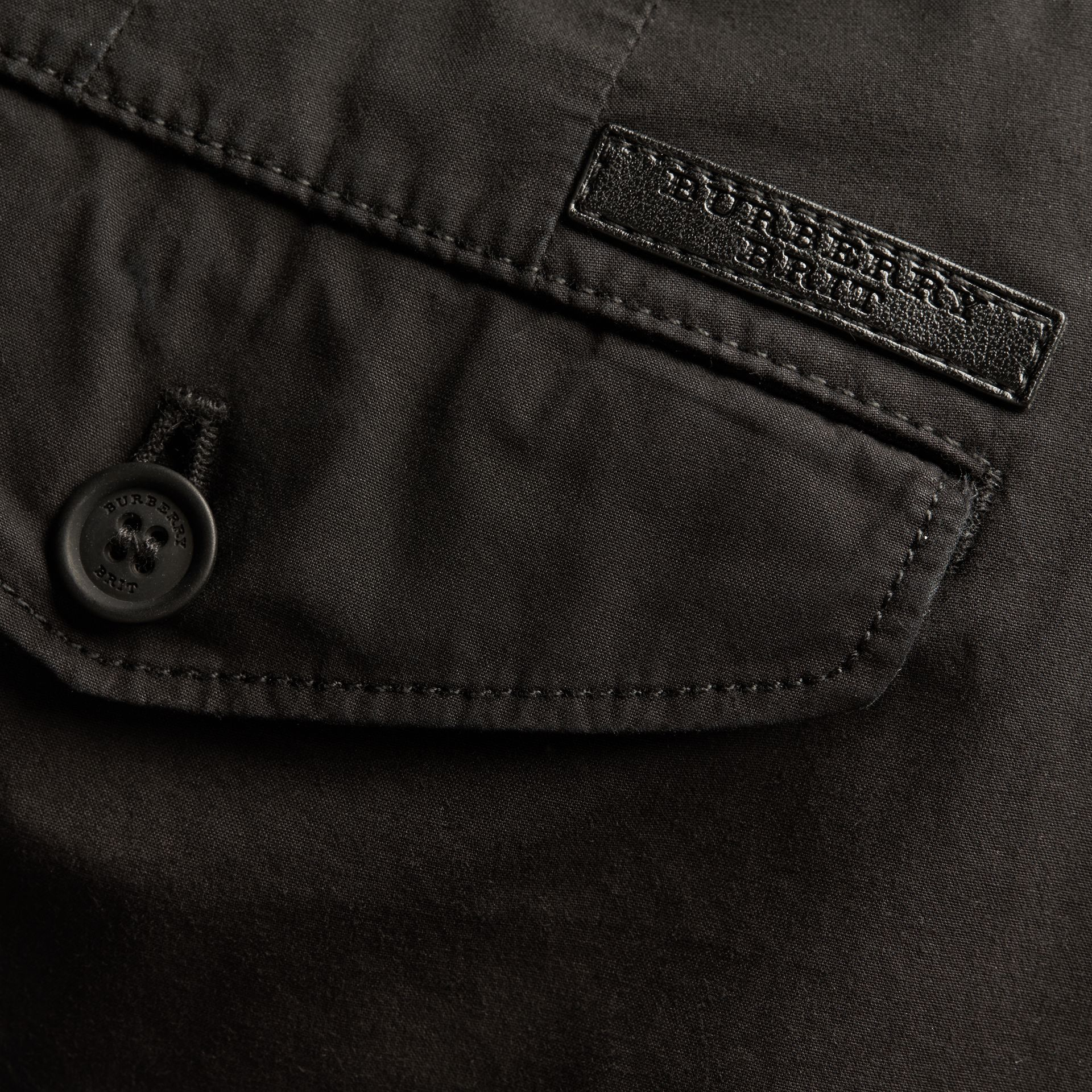 Slim Fit Cotton Poplin Chinos in Black - Men | Burberry Singapore - gallery image 2