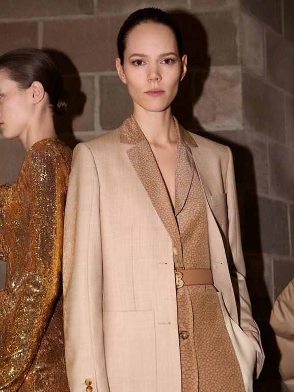 Fish-scale Print Bib Detail Wool Tailored Jacket in Ecru - Women | Burberry Australia - cell image 1