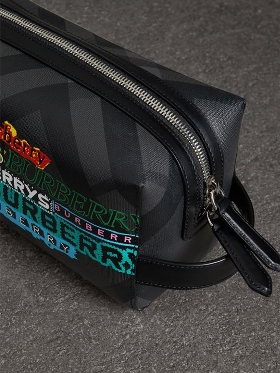 Tag Print London Check and Leather Pouch in Black | Burberry Singapore - cell image 1