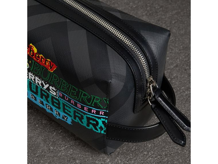 Tag Print London Check and Leather Pouch in Black - Men | Burberry - cell image 1