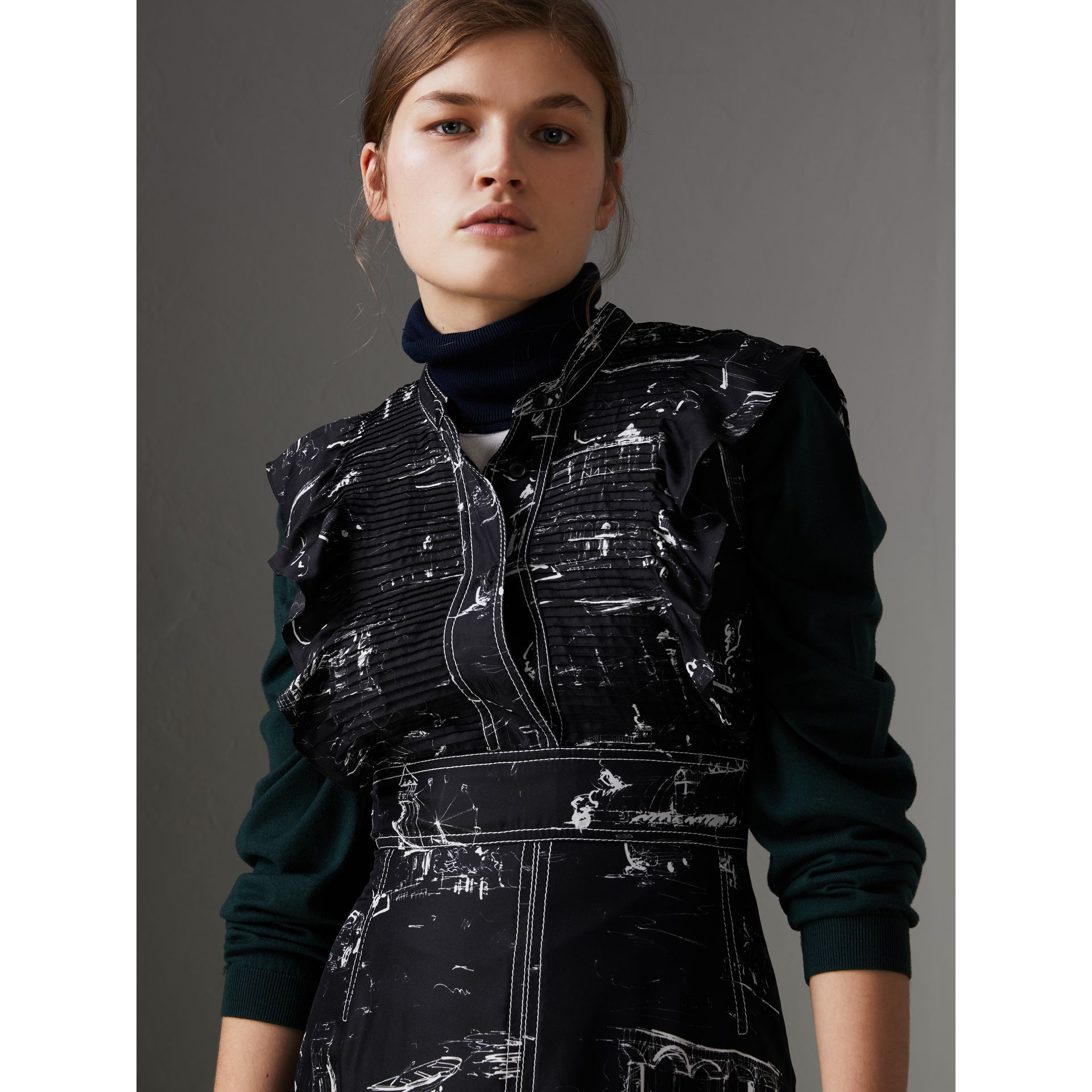 Ruffle Detail Landmark Print Silk Dress in Black - Women | Burberry - gallery image 1