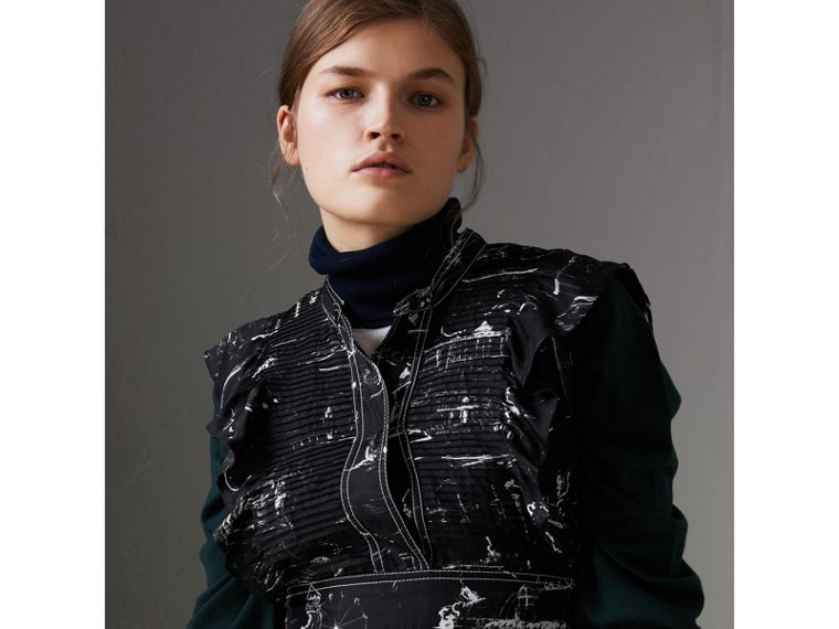 Ruffle Detail Landmark Print Silk Dress in Black - Women | Burberry United States - cell image 1