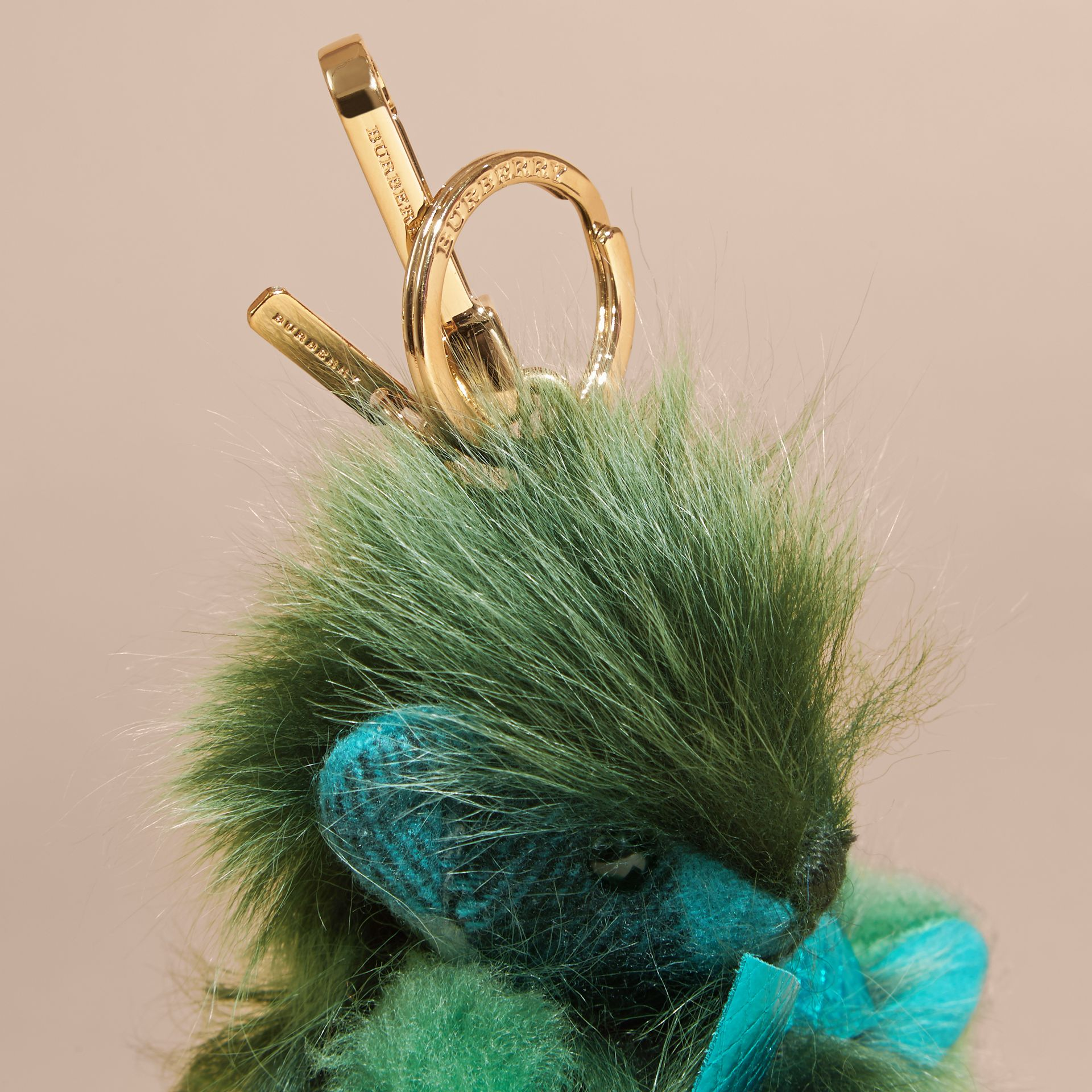 Dark aqua Thomas Bear Pom-Pom Charm in Check Cashmere Dark Aqua - gallery image 3