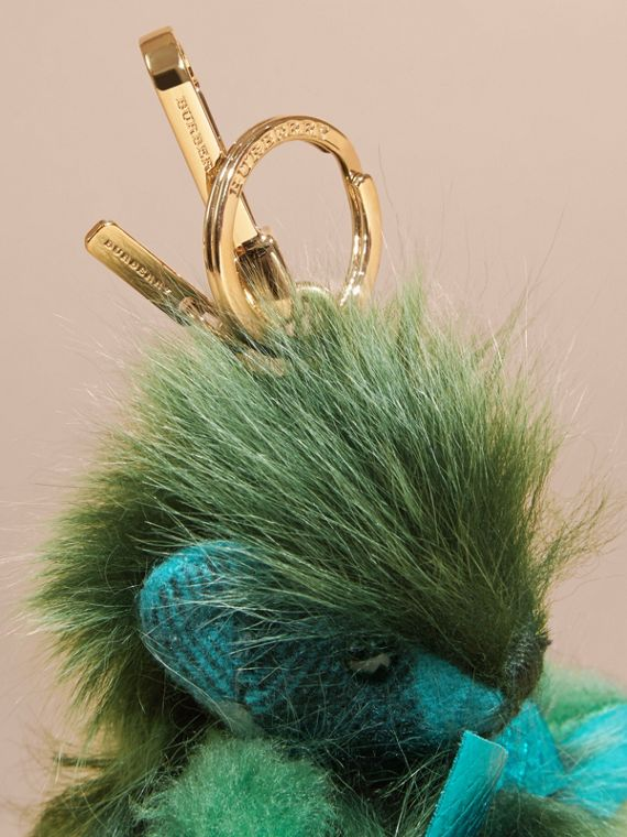 Dark aqua Thomas Bear Pom-Pom Charm in Check Cashmere Dark Aqua - cell image 2