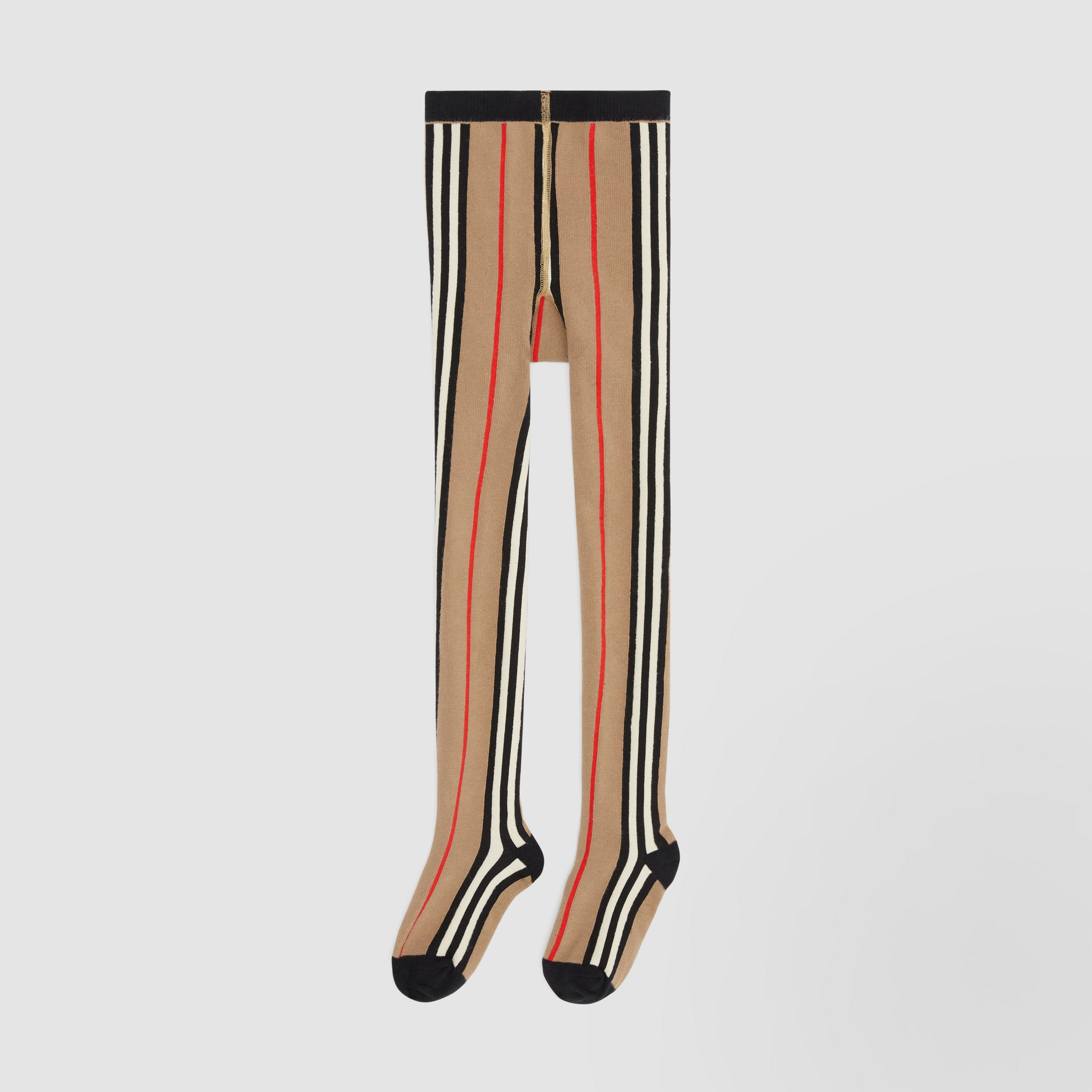 Icon Stripe Intarsia Cotton Blend Tights in Archive Beige - Children | Burberry - 1