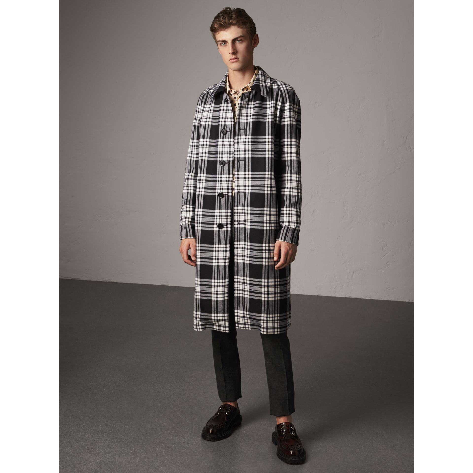 Reversible Gabardine and Tartan Wool Car Coat in Black - Men | Burberry - gallery image 6