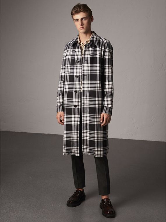 Reversible Gabardine and Tartan Wool Car Coat in Black