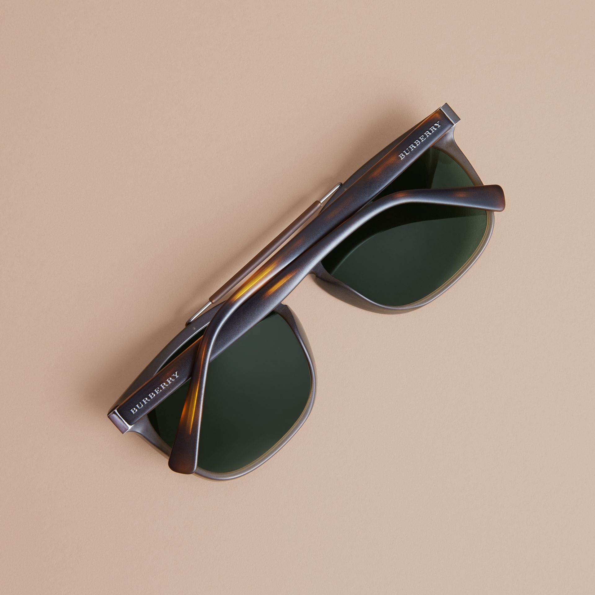 Top Bar Square Frame Sunglasses in Olive | Burberry United States - gallery image 3