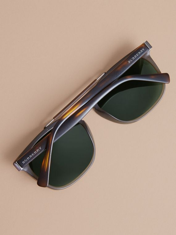 Top Bar Square Frame Sunglasses in Olive - Men | Burberry United States - cell image 3