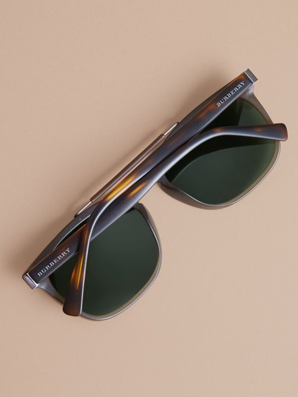 Top Bar Square Frame Sunglasses in Olive | Burberry - cell image 3