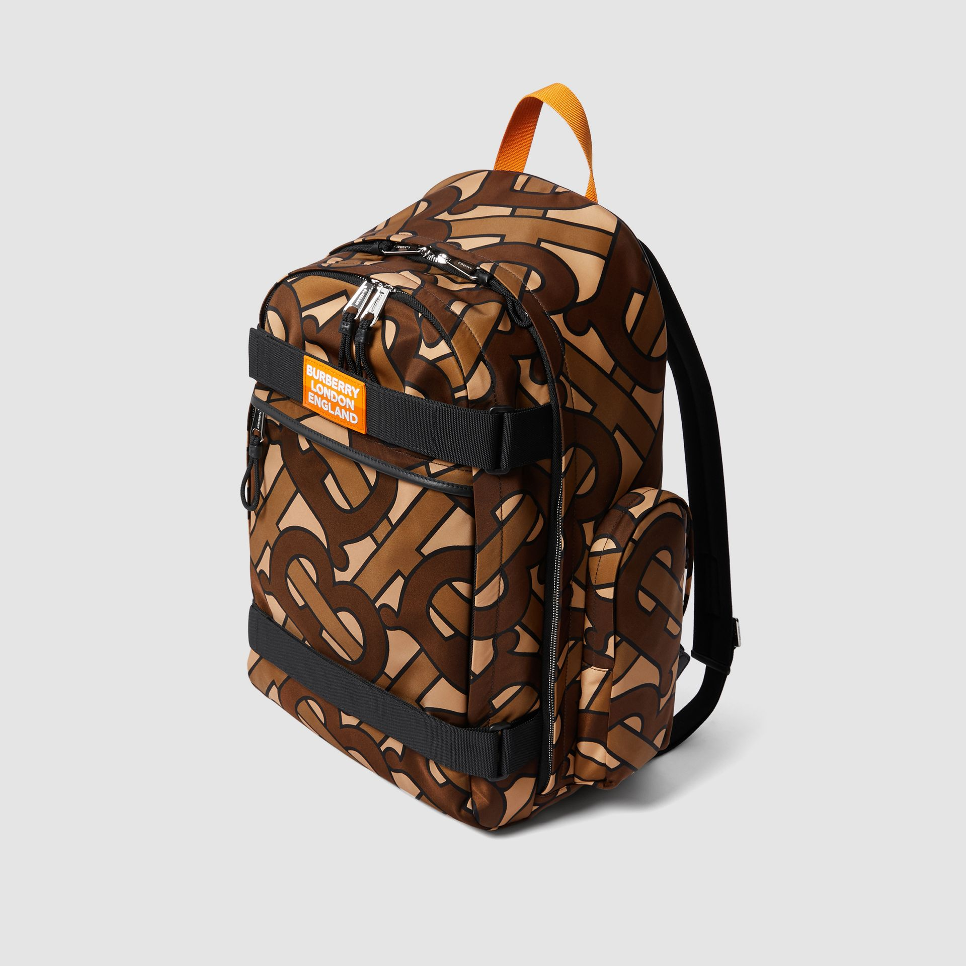 Large Leather Trim Monogram Print Nevis Backpack in Bridle Brown | Burberry United Kingdom - gallery image 4