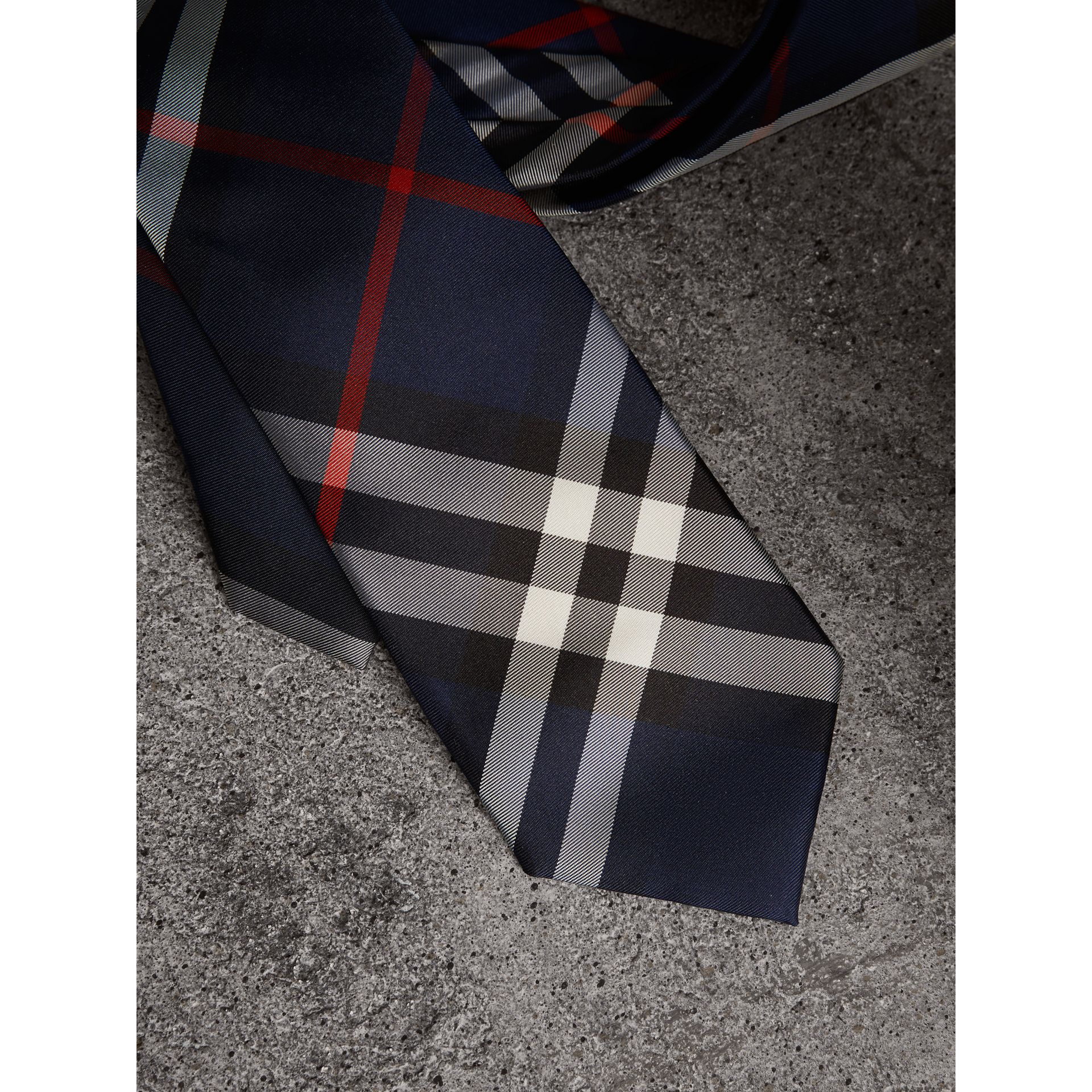Modern Cut Check Silk Twill Tie in Navy - Men | Burberry Australia - gallery image 1