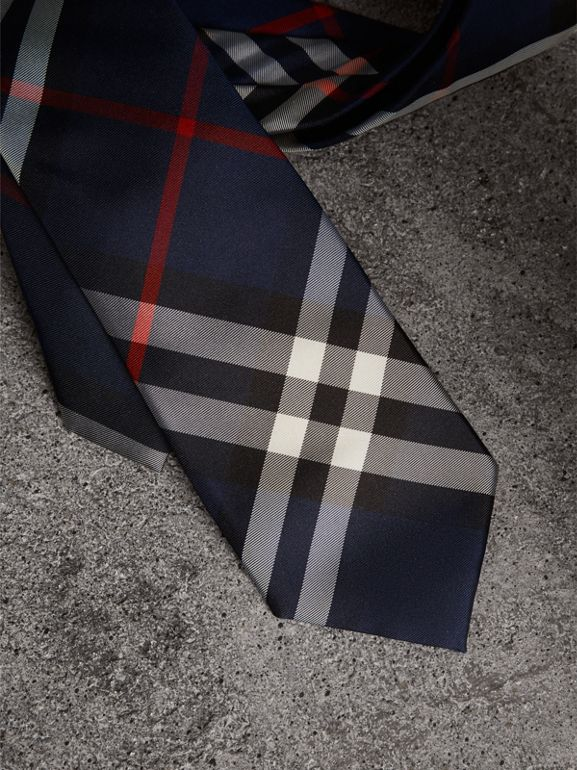 Modern Cut Check Silk Twill Tie in Navy - Men | Burberry - cell image 1