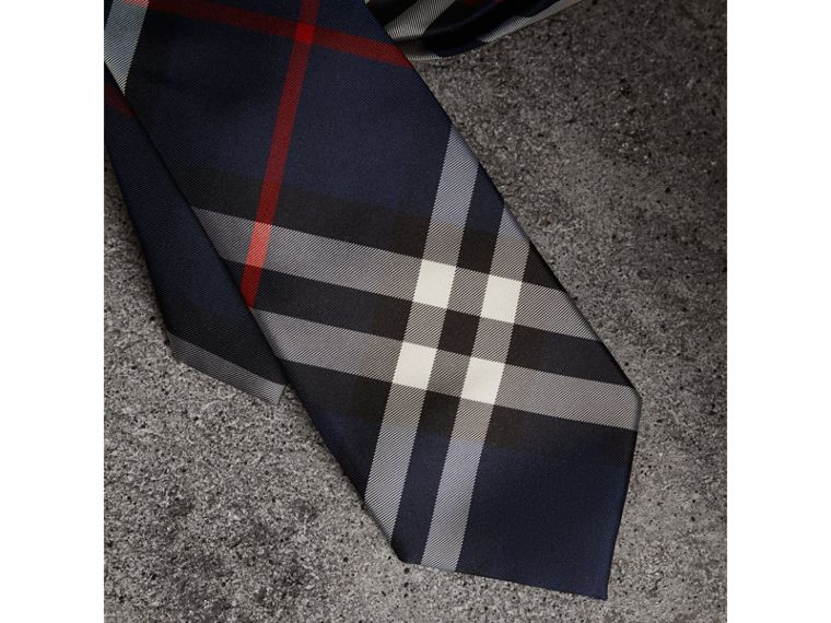Modern Cut Check Silk Twill Tie in Navy - Men | Burberry United Kingdom - cell image 1