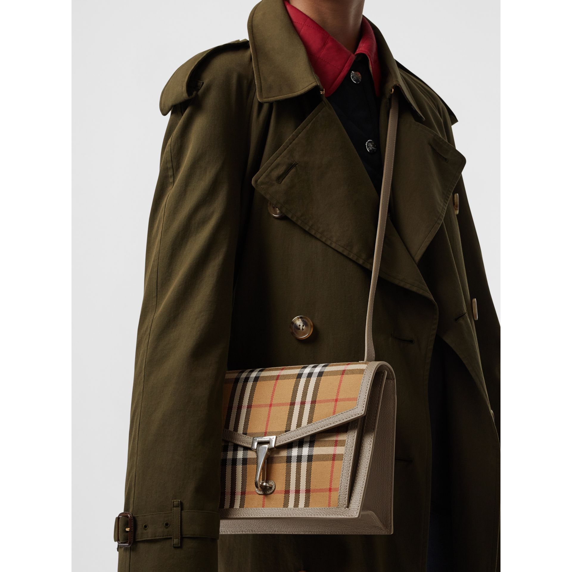 Small Vintage Check and Leather Crossbody Bag in Taupe Brown - Women | Burberry Australia - gallery image 3