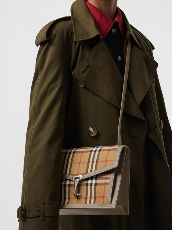 Small Vintage Check and Leather Crossbody Bag in Taupe Brown - Women | Burberry Canada - cell image 3