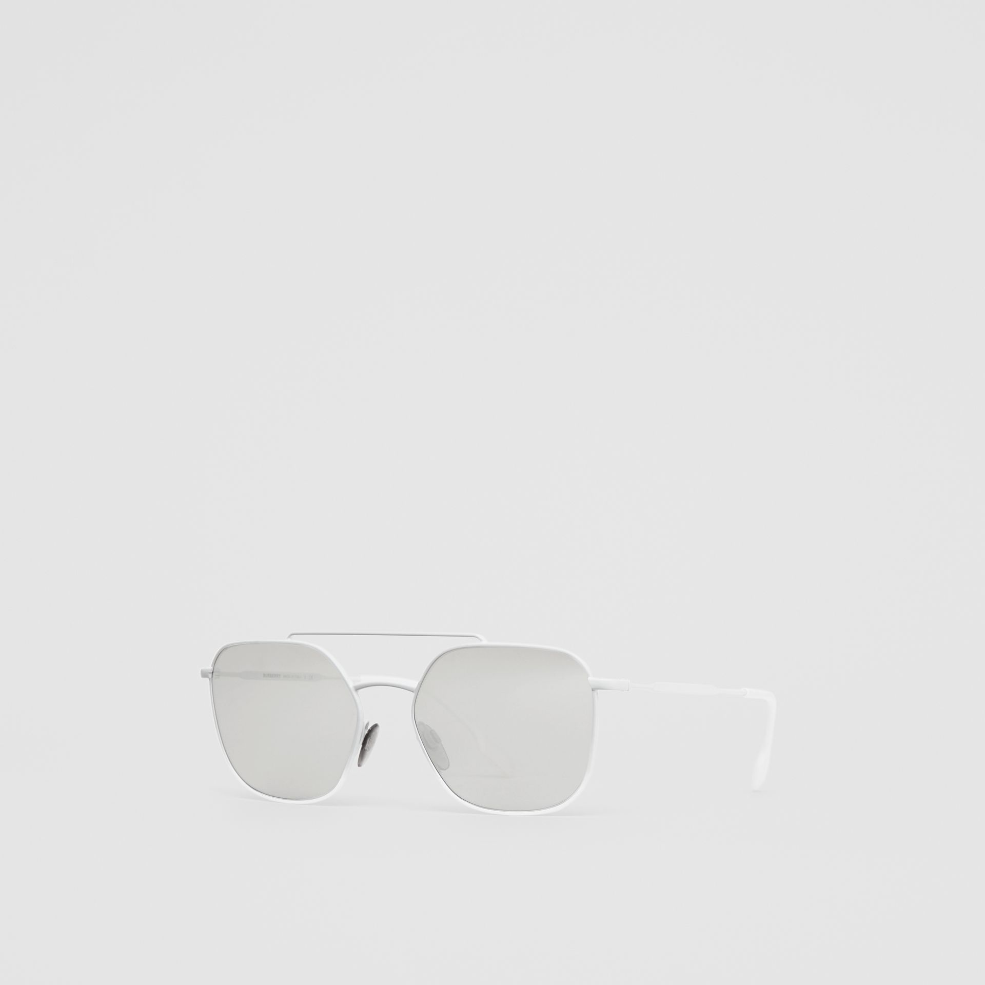 Top Bar Detail Square Pilot Sunglasses in Matt White - Men | Burberry - gallery image 5
