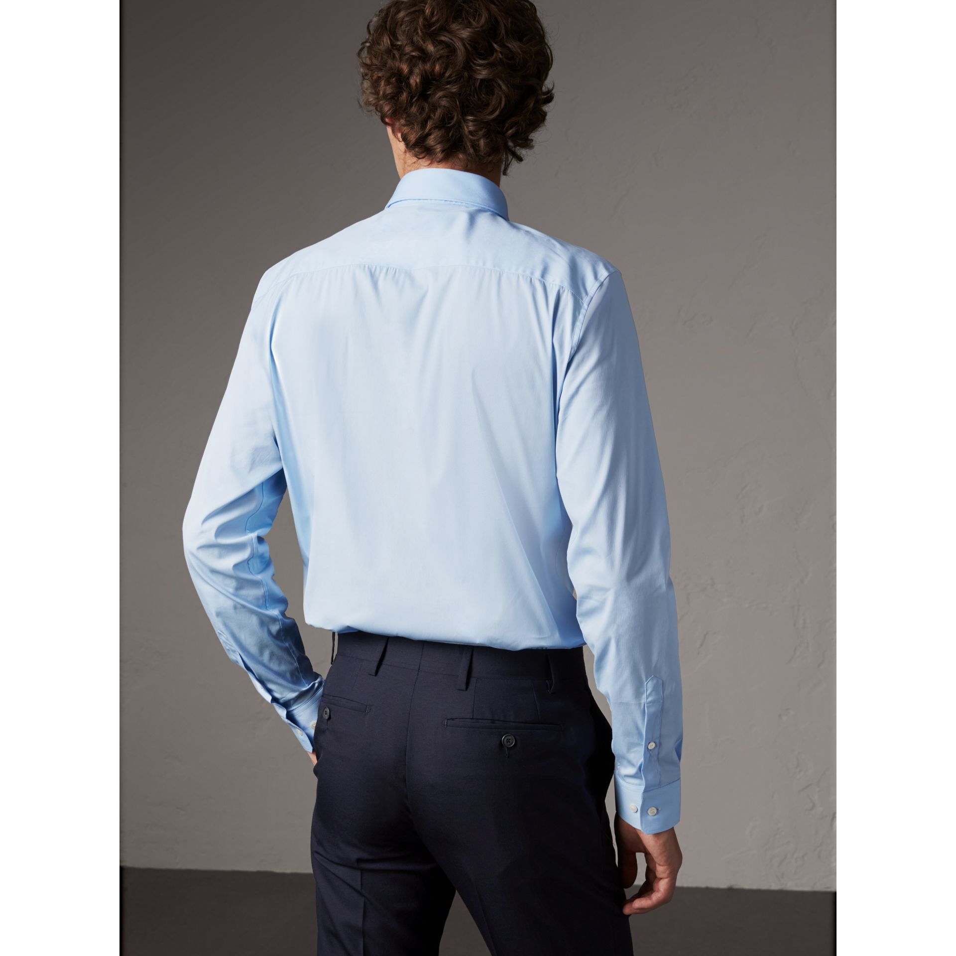 Slim Fit Stretch Cotton Shirt in City Blue - Men | Burberry - gallery image 2