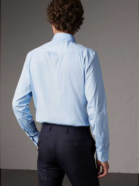 Slim Fit Stretch Cotton Shirt in City Blue - Men | Burberry United States - cell image 2