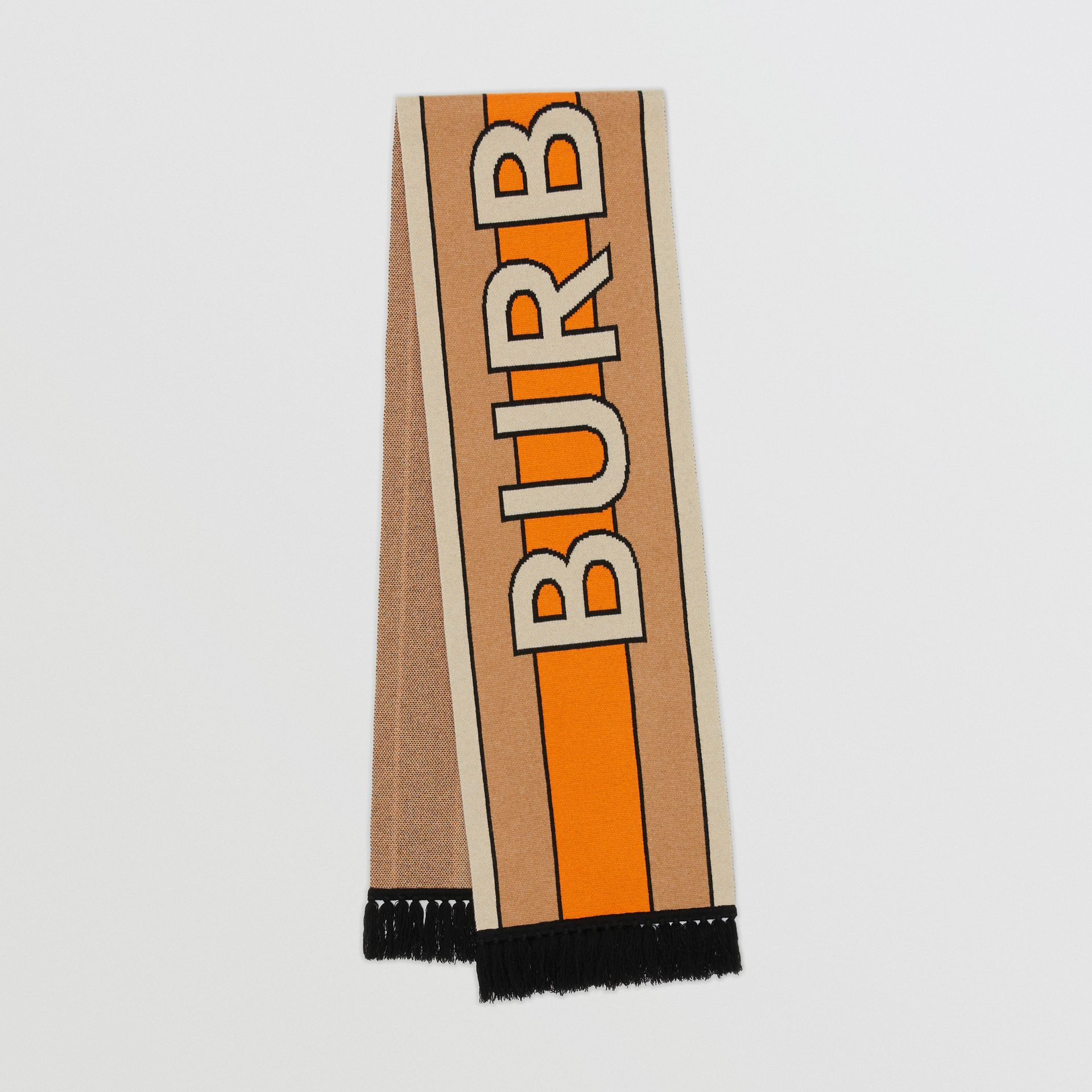 Logo Cashmere Jacquard Scarf in Warm Camel | Burberry United Kingdom - gallery image 0