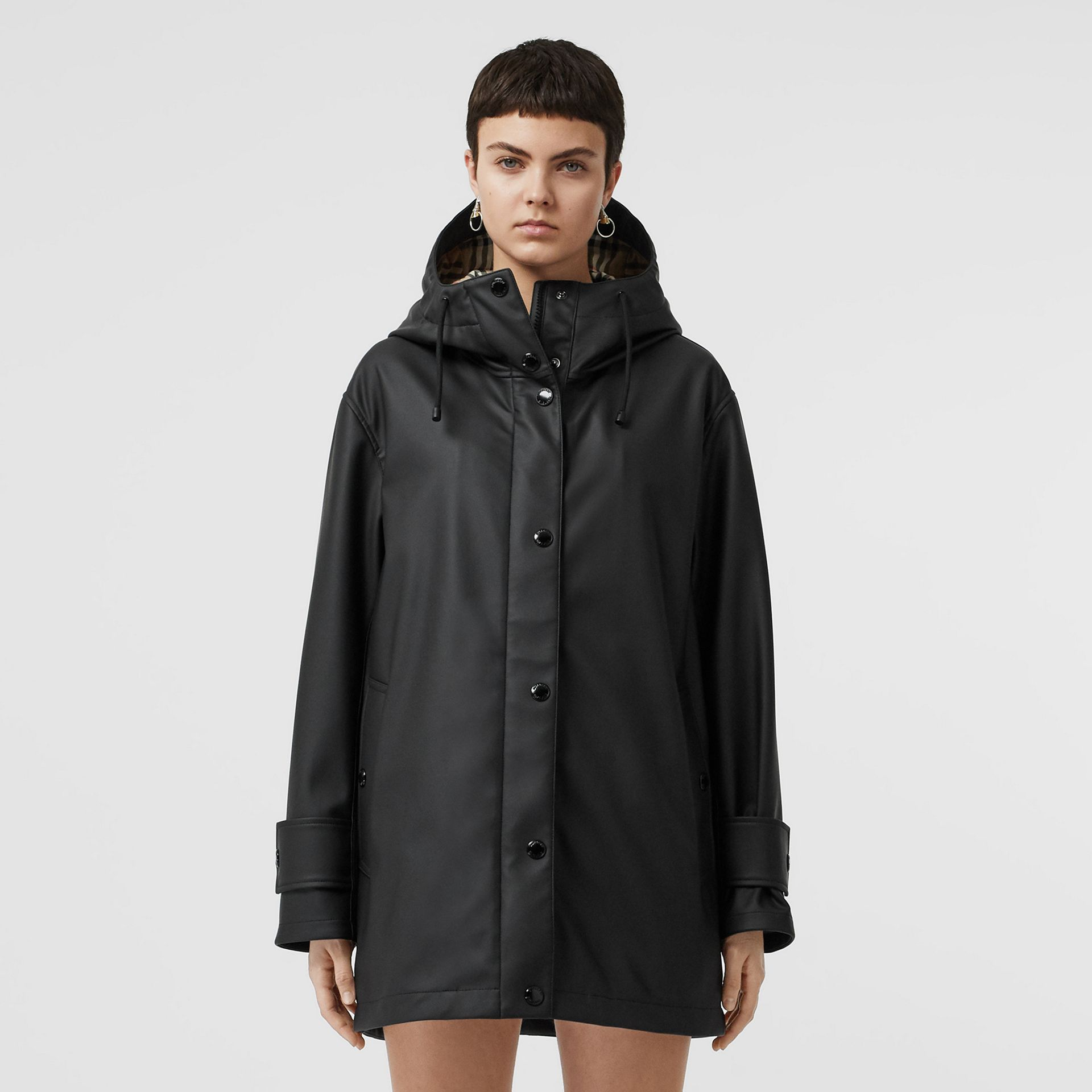 Logo Print Showerproof Hooded Coat in Black/white - Women | Burberry - gallery image 5