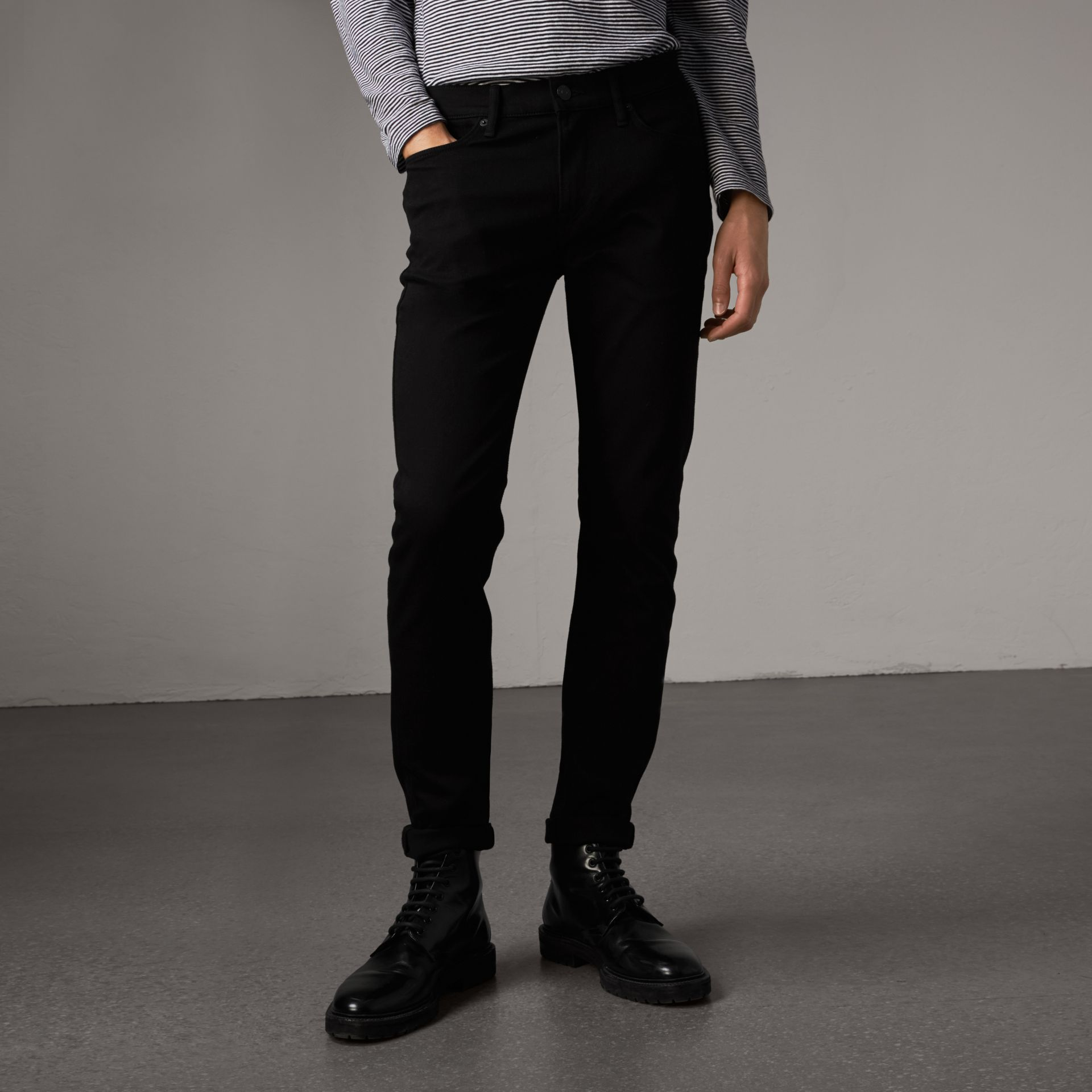 Slim Fit Stretch-denim Jeans in Black - Men | Burberry Hong Kong - gallery image 0