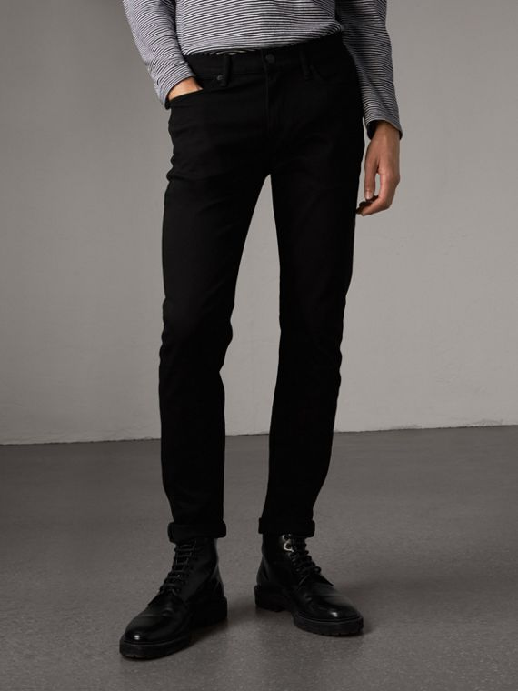Jeans aderenti in denim stretch (Nero)