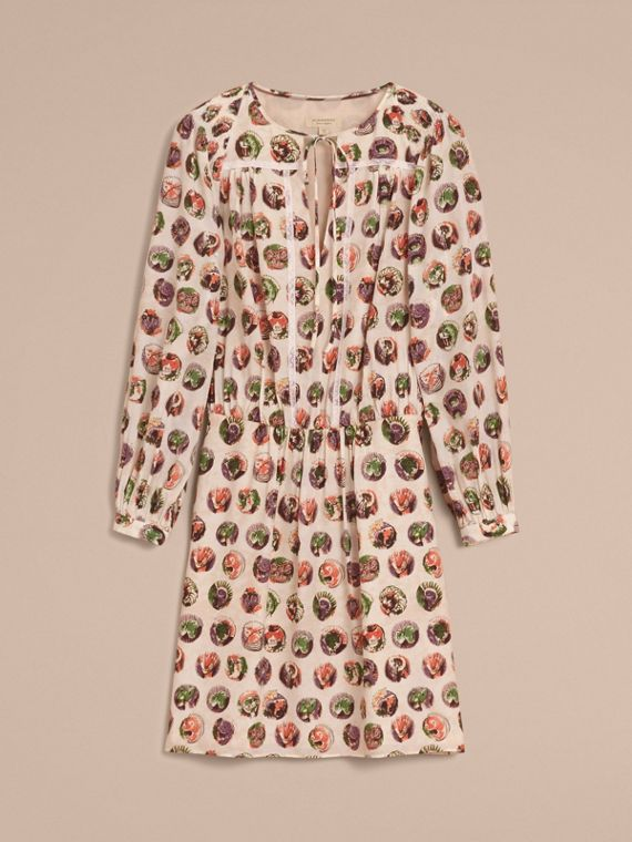Pallas Heads Print Silk Dress with Neck Tie in Natural White - Women | Burberry - cell image 3