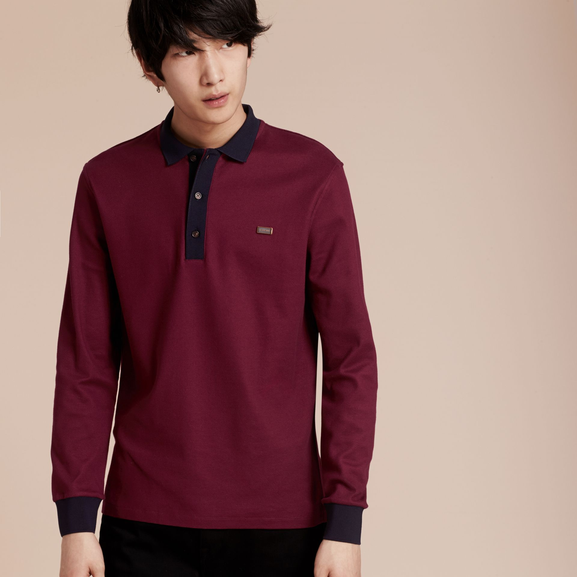 Boysenberry/navy Long-sleeved Cotton Piqué Polo Shirt Boysenberry/navy - gallery image 7